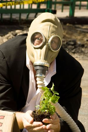 A protester shows his dismay with the environment.