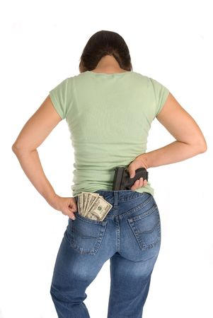 A woman with her cash and gun along with an attitude readies herself for protection  photo