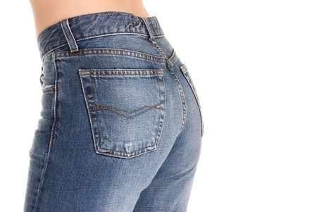 Beautiful buttocks in tight fitting jeans. photo
