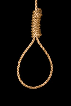 An execution and suicide noose isolated on black Stock Photo