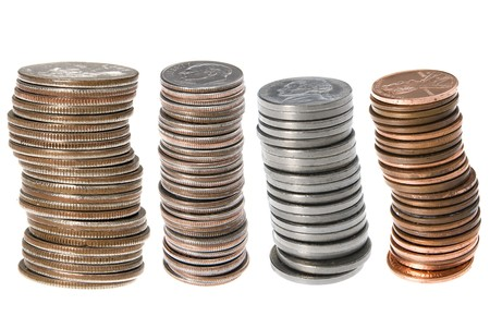 pennies: Stacks of U.S. currency coins including quarters, dimes, nickels and pennies.