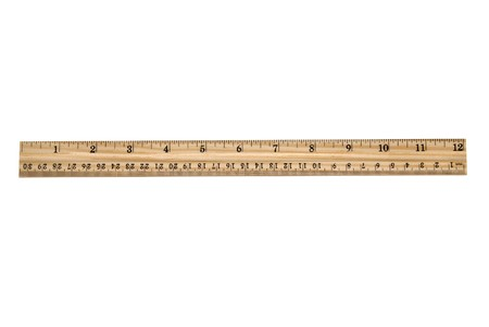 An brand new wooden ruler isolated on white.  Very clean and crisp. Stok Fotoğraf