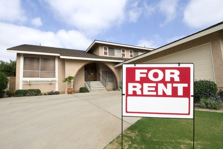 for rent: A home is being rented during tough economic times.