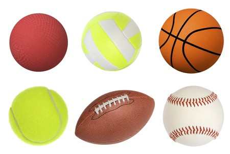 Six sports balls inclusing a dodgeball, volleyball, basketball, tennis ball, football and baseball isolated on white and at full native resolution. photo