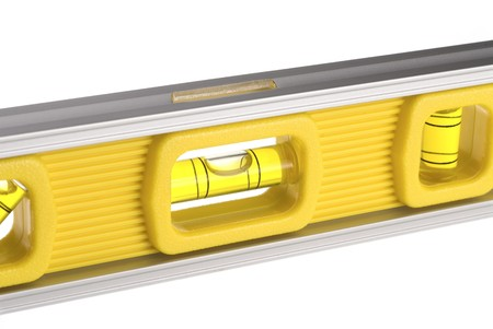 inference: A new yellow level isolated against a white background can be used for any tooling, fabrication or construction inference.