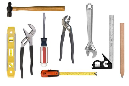 An assortment of full resolution carpentry tools isolated on white.  Easy to select individual tools for singular use. photo