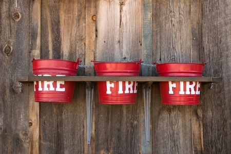 restored: Three old fire buckets restored at an old barn