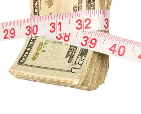 Een bundel van contanten wordt geperst strakker te wijten aan de recessie. Beeld leidt een slechte economie, strengere home financiën, overheid bailouts en een algemene behoefte aan besteden wijzer. Stockfoto