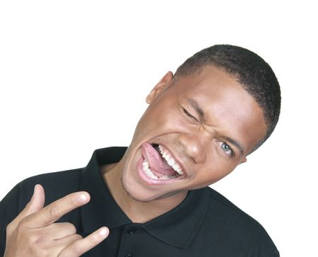 A young African American goofing off and making funny faces. Stock Photo - 4864237