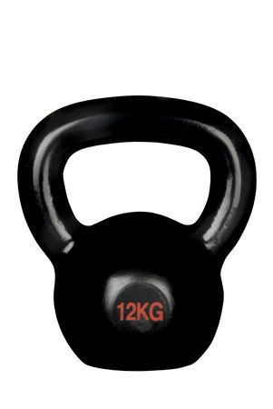 An isolated black kettle bell on a white background shows a unique piece of heavy exercise equipment.