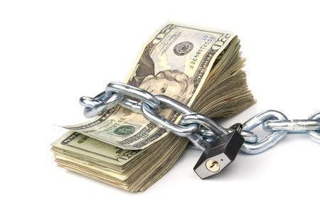 padlocked: A stack of currency chained together and padlocked.  Used for any money inference where money is tight or protected.