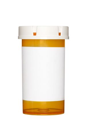 label: A medical pill bottle with a blank label for copy space and the bottle is isolated on a white background.