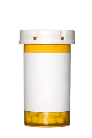 A medical pill bottle with a blank label for copy space and the bottle is isolated on a white background. photo