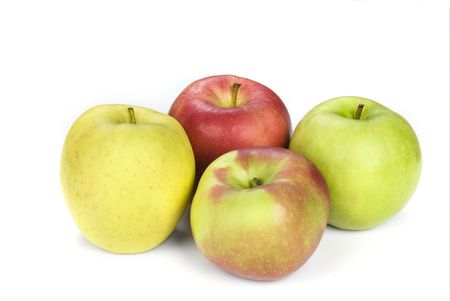 Four apples show the variety from yellow to granny smith to a common red apple. Stock Photo - 4869497