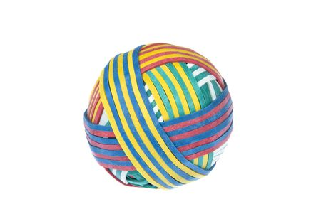 inference: A rubber band ball with patterened design for use in any office supply inference. Stock Photo