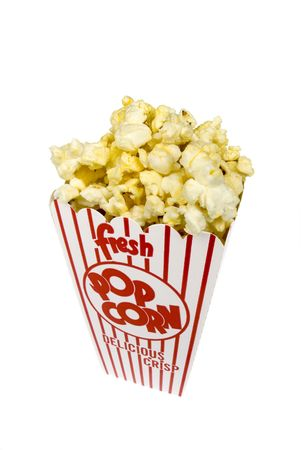 A piping hot container of movie popcorn isolated on white. Stock Photo - 5231564