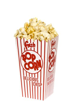 inference: A container of movie popcorn isolated on a white background for use with any casual inference. Stock Photo