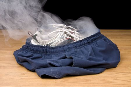 vanished: A pair of smoking shoes and shorts remain as the illusion insinuates that a person has vanished right out of their clothing.