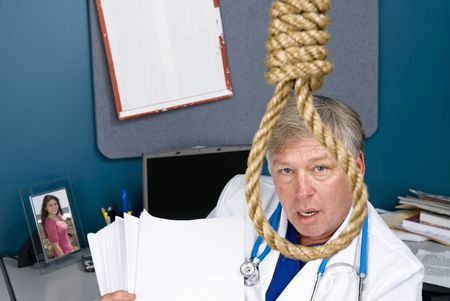 A doctor peers through a noose as he fights the bureaucracy of red tape and paperwork, rules, regulations and reform. Stock Photo - 5529865