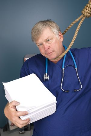 bureaucracy: A doctor peers through a noose as he fights the bureaucracy of red tape and paperwork, rules, regulations and reform.  Paper left blank to allow for copy.