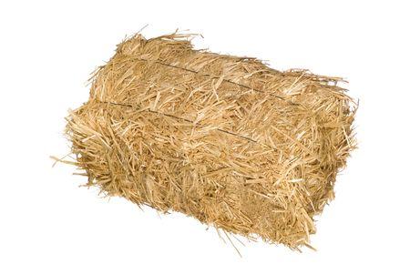fardos: Un fardo de heno aislado en un fondo blanco