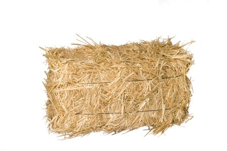 a straw: A bale of hay isolated on a white background.