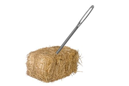 hay: A needle is discovered in an obvious find.  Good for thinking the opposite from a needle in a haystack.  Easy to find.  No matter the situation inferences. Stock Photo