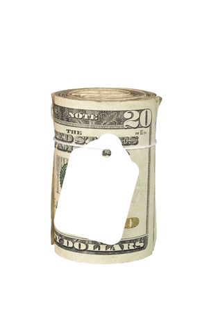 A roll of cash with a blank price tag for copy.  Inferences could be for recession, inflation, budgeting, finance, retirement, income; or any other financial tone. photo