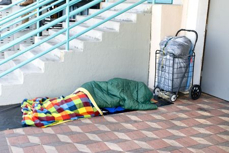sleeping bag: A homeless person sleeping along a brick sidewalk.