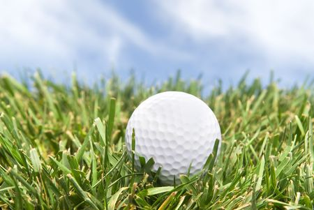 A golf ball sits in the rough on a bright, sunny day. photo