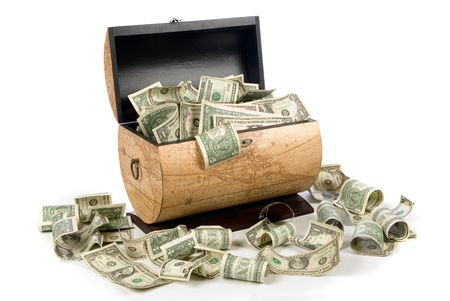 windfall: A cash box full of money is good for financial, economic, retirement and savings inferences.