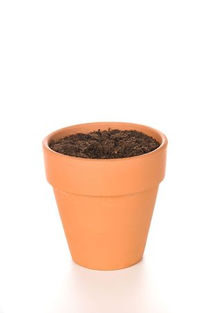 plant pot: A terracotta clay flower pot with fresh soil for use in any floral or empty inference.
