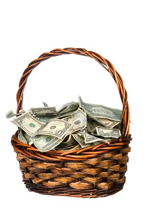 inferences: A wicker basket with handle holds a pile of cash.  Good for most financial inferences including investment, retirement, savings, wealth and the economy to name a few.