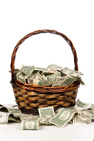 inflation basket: A wicker basket with handle holds a pile of cash.  Good for most financial inferences including investment, retirement, savings, wealth and the economy to name a few.