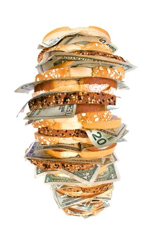inferences: A giant, fresh money sandwich with multiple types of bread and cash demoninations for use on many financial, food and economic inferences.