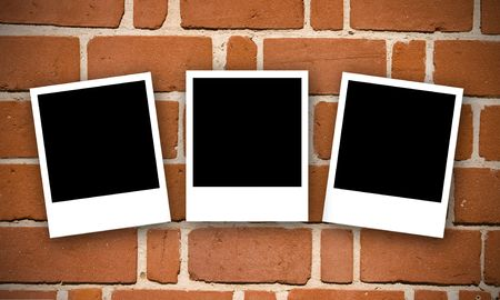Three Polaroids with a brick wall backdrop.  Polaroids are masked so designers can input any image into the frames. photo
