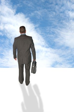 world at your fingertips: A businessman walking into the futuristic unknown sky, taking risk and looking for vision.