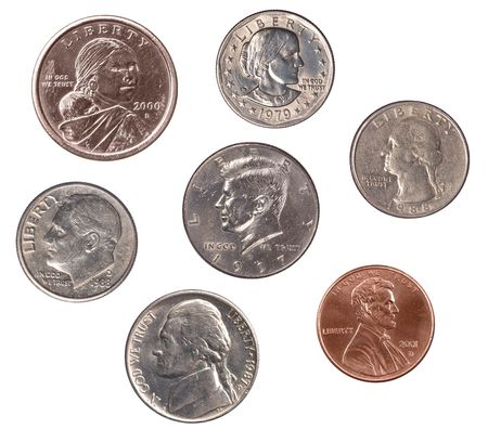 A set of U.S. coins isolated on white.  The coins are not to scale because I wanted to provide designers with full resolution shots of each coin, which allows them to select a single coin for a project without sacrificing coin quality.