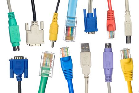 An assortment of computer cables in a variety of colors. photo
