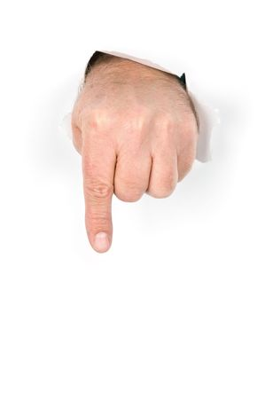 A hand with index finger extended pokes through torn paper prepares to push something for which a designer could place in this image. Stock Photo - 6525286