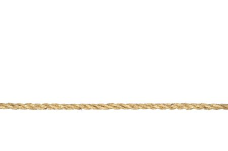 A straight line of twisted manila rope isolated on a white background. Stock Photo
