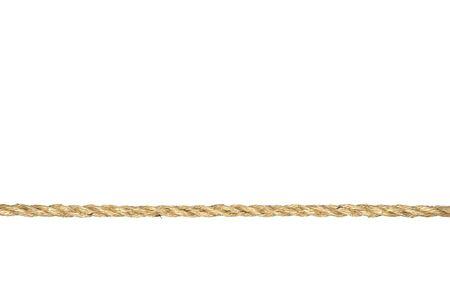 hanf: Eine gerade Linie von twisted Manila Seil isoliert auf wei�em Hintergrund. Lizenzfreie Bilder