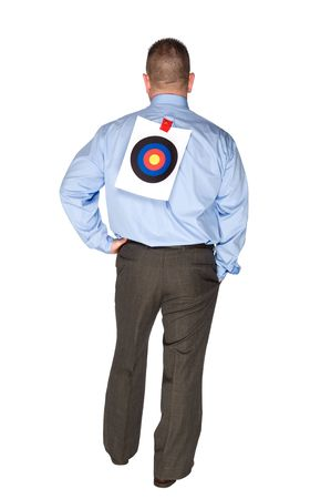 taped: A businessman with a bulls eye taped to his back.