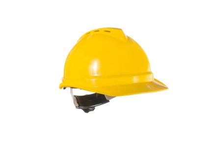 A yellow hard hat isolated on white.
