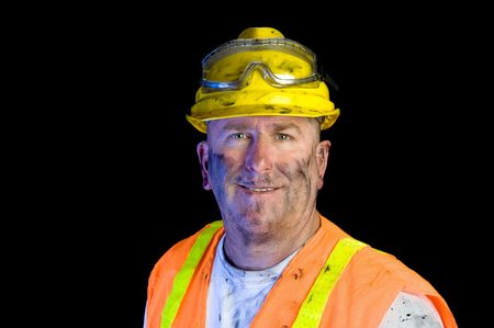Close up of a construction utility worker wearing protective workwear to emphasize safety. photo