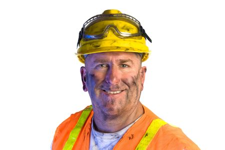 emphasize: Close up of a construction utility worker wearing protective workwear to emphasize safety. Stock Photo