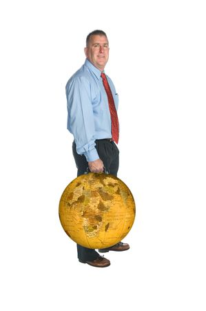 An international businessman hodls his world globe briefcase. Stock Photo - 6862701