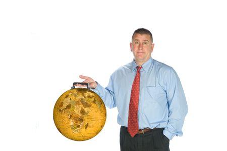 An international businessman hodls his world globe briefcase. Stock Photo - 6862702