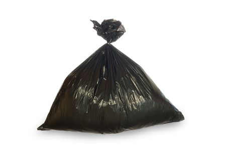 A filled black trash bag secured with a wire tie isolated on white.