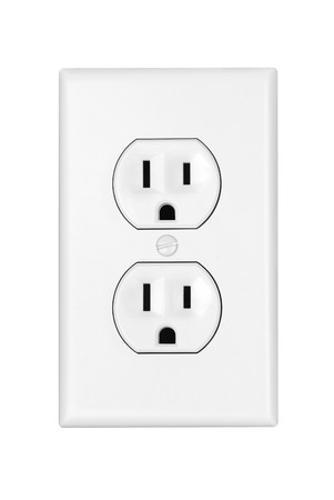 An American 110 volt three prong electrical power outlet isolated on white. photo